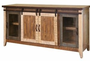 the best attitude 5cf9a 65496 Details about Greenview Rustic Modern Solid Wood Multicolor 70 Inch TV  STAND, Sideboard