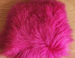 100-Veritable-Rose-Rouge-mongol-tibetain-agneau-fourrure-Oreiller-Coussin-Etui-en-peau-de-mouton