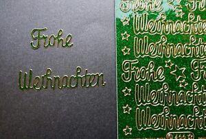 Frohe Weihnachten Glitzer.Details Zu Stickerbogen Frohe Weihnachten Glitzer Grun Nr 466