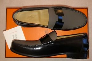 Details about Authentic Hermes Mens Kennedy Loafers Shoes Black Taupe sz43 NEW Save Nicely