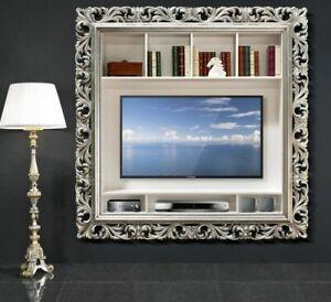 Porta Tv Cornice Argento.Dettagli Su Mobile In Legno Porta Tv Plasma Con Cornice Barocca In Foglia Oro Argento Df1000