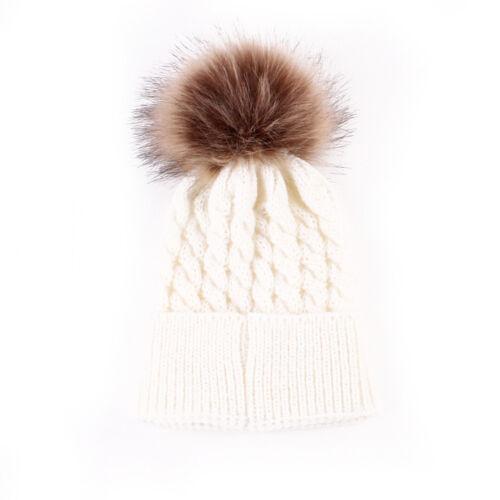 Newborn Baby Kid Boy Girl Warm Knit Beanie Hat Fur Pom Beret Crochet Hemming Cap