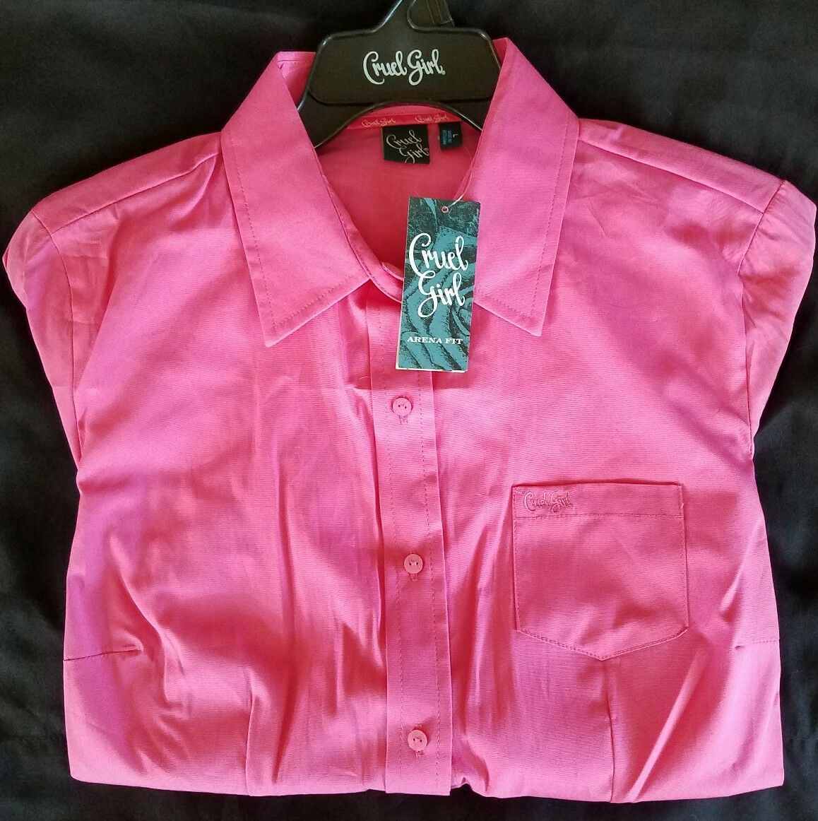 Cruel Girl Arena Fit long sleeve button up shirt. Women's SMALL in pink