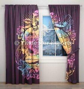 Indian Tie Dye Dead Skull And Roses Curtains Boho Hippie Tapestry Room Decor Ebay