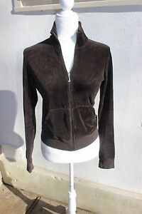 94071a6a6250 Women s Juicy Couture Chocolate Brown RICH Velour Full Zip Up Jacket ...