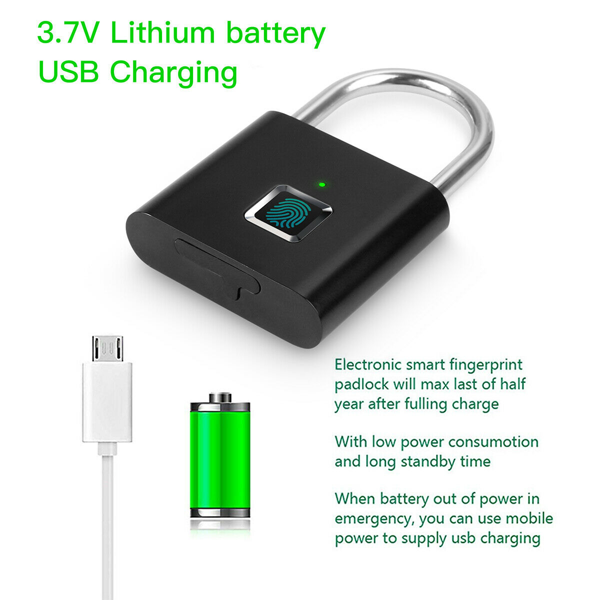SMART FINGERPRINT ANTI-THEFT KEYLESS SECURITY W/USB CABLE