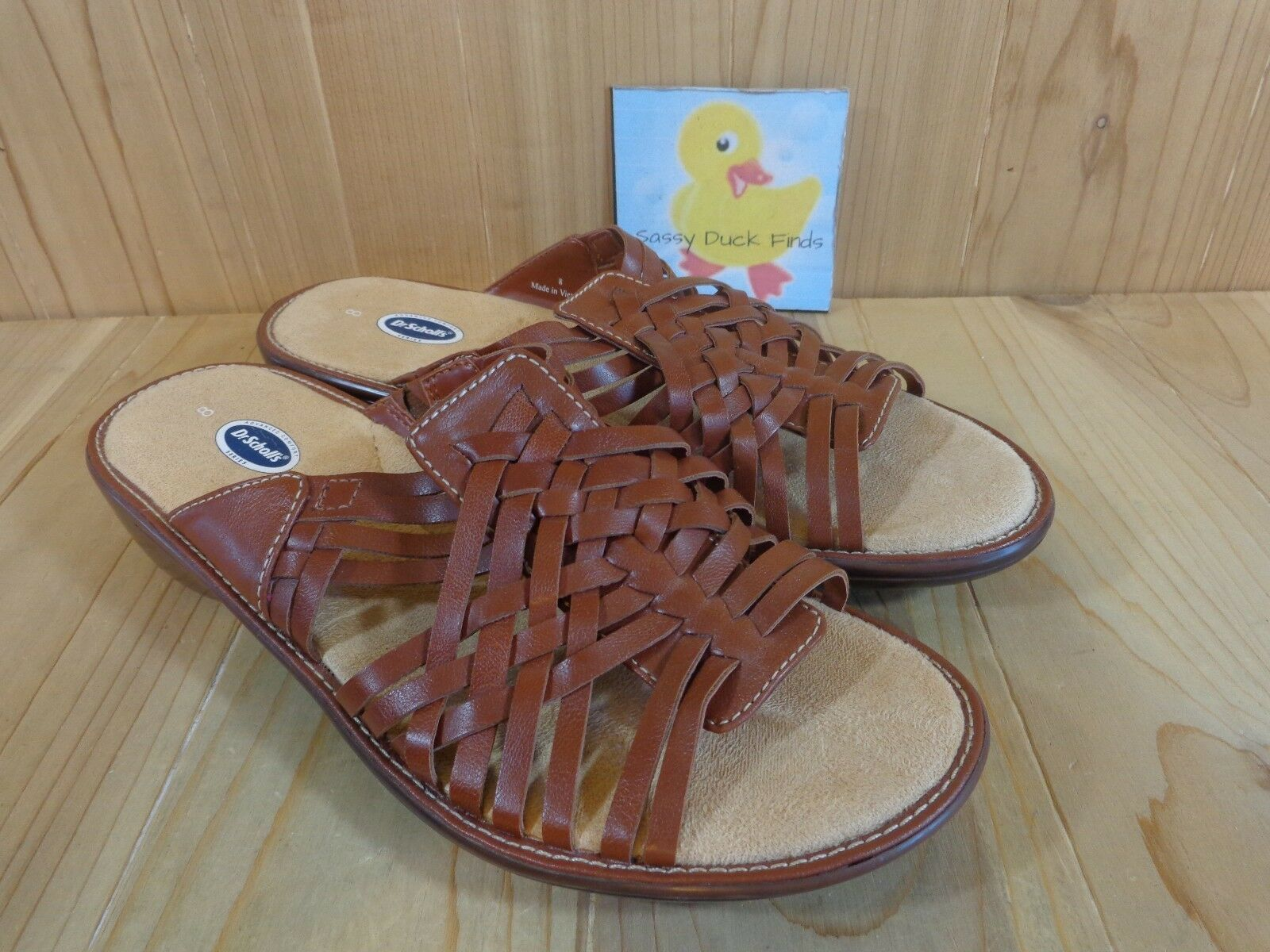 Dr Scholls Sandals Womens Size Pattern 8 M Brown Woven Pattern Size Slip On 6d4792