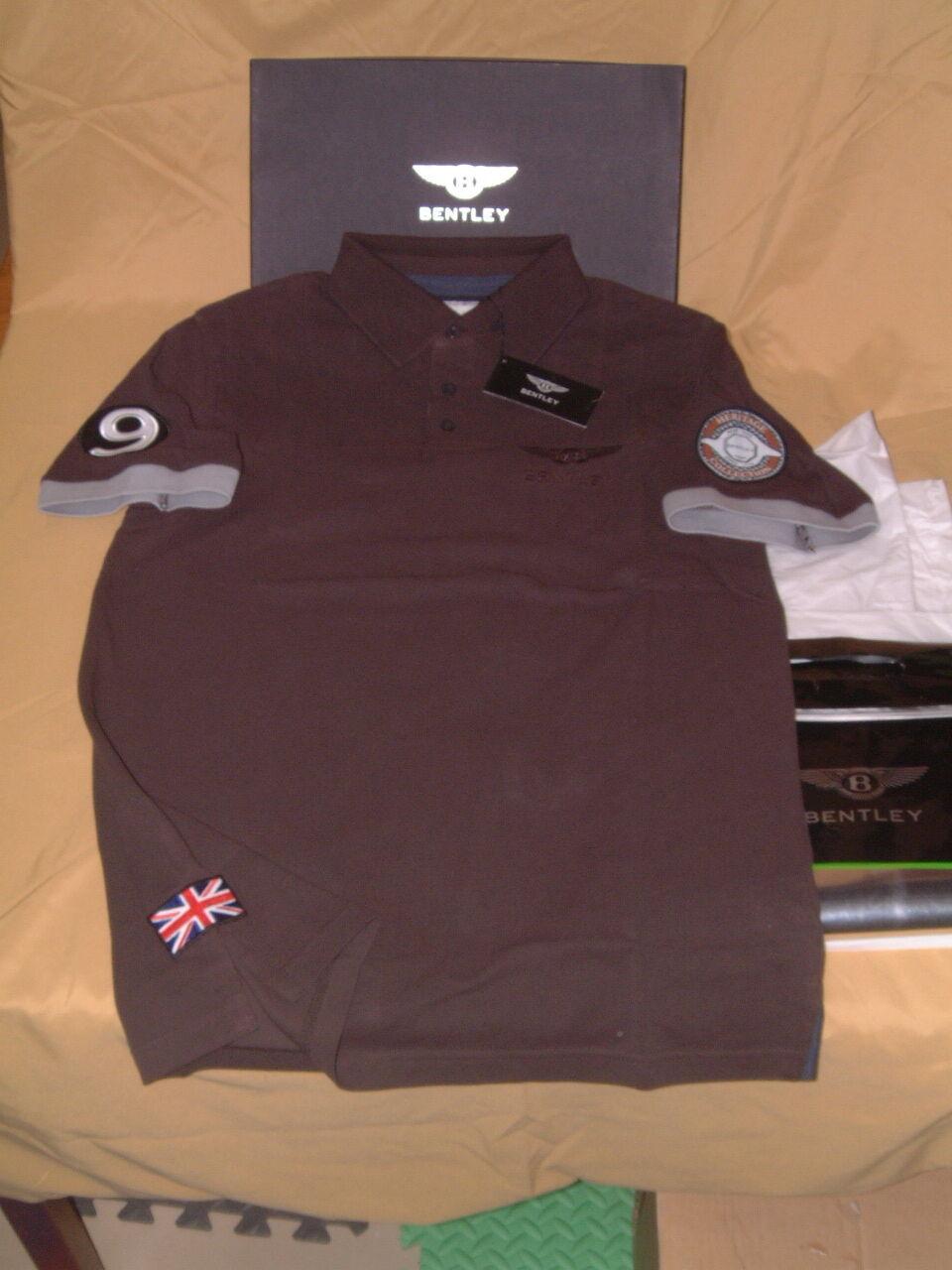 Bentley Colección Legado Bordado  Camisa Polo Marrón Nuevo en Caja EE. UU. M, Euro L.  gran descuento