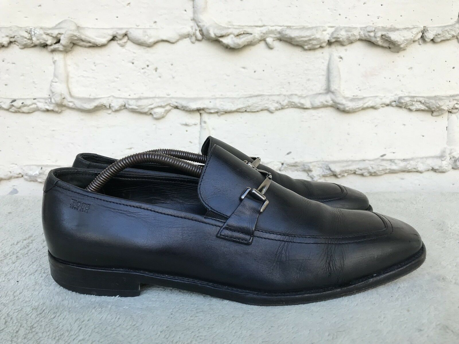 HUGO BOSS MEN US 9 schwarz LEATHER LOAFER SLIP ON schuhe Silber HORSE BIT