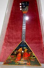 RUSSIAN BALALAIKA HAND PAINTED FOLK SCENE STRING INSTRUMENT  WALL CASE mandolin