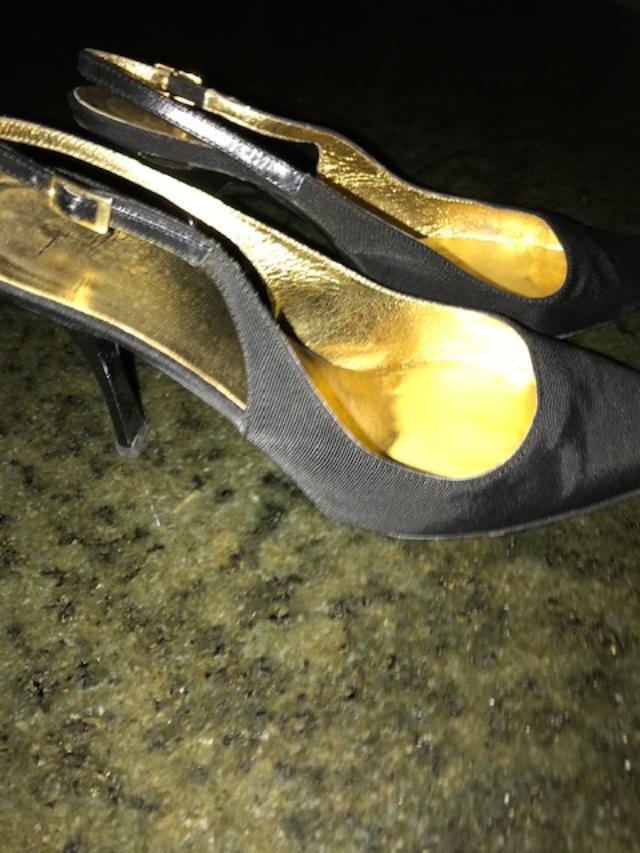 Giuseppe Zanotti nero Peau de soir & Leather slingback scarpe, 37.5, 7.5-8 M
