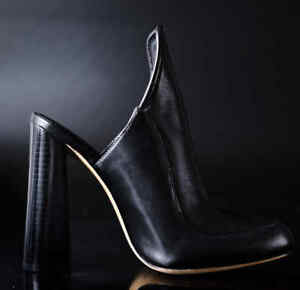 Alexander-Wang-Black-Leather-high-Heels-Shoes-Size-37