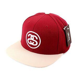 STUSSY-ss-link-Casquette-Snapback-Bonnet-Unisexe-Taille-Unique-couleur-rouge
