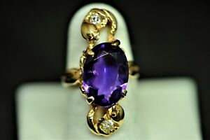 Art Nouveau Diamond & Amethyst 14k Gold Handmade Woman's Ring Appr Size 3.75 Fine Jewelry Antiques