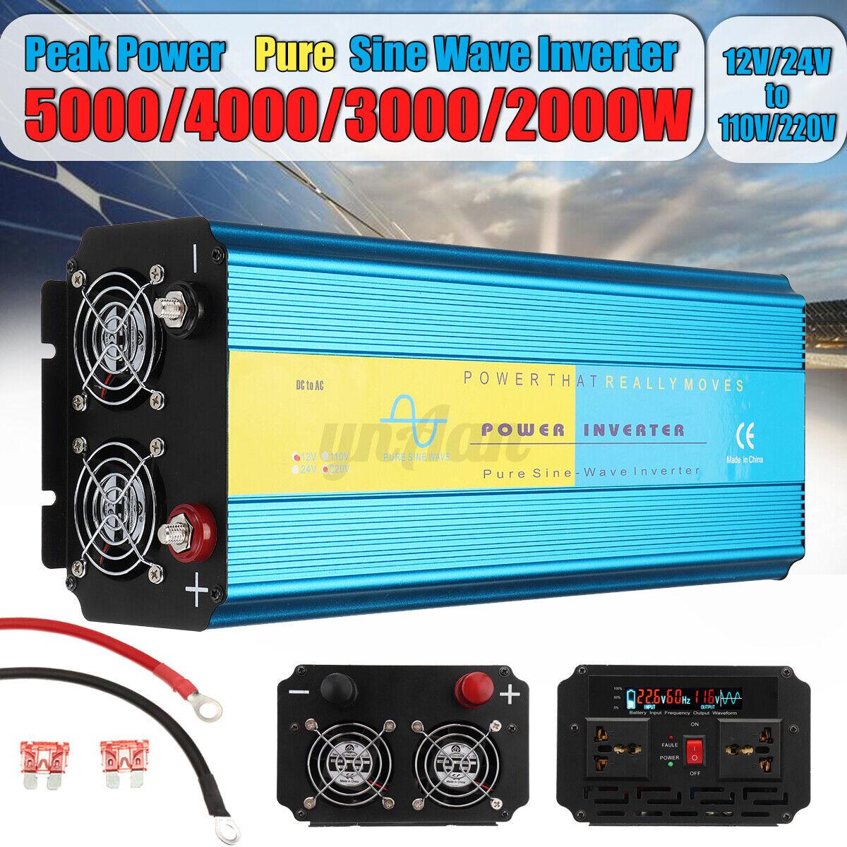 Auto 5000W Solar Wechselrichter Digital Display Phone 4 USB Ladeger/ät Wechselrichter