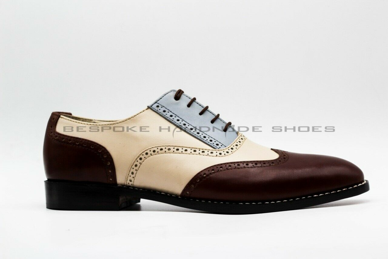 Men's Handmade Genuine Leather Three Tone Oxford Brogue Wingtip Lace Up shoes