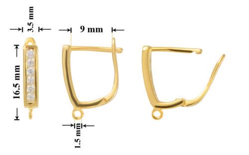 Überzogen Schmuckteile mit CZ Sterling Silber Sicherheit Ohrhaken 16.5x3.5mm