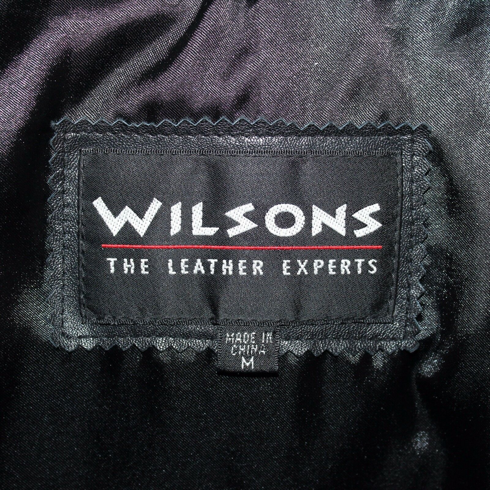 Wilson's Medium Asymmetrical Full Zip 100% Pelle Collar Belted Notched Collar Pelle Cappotto 3b9468