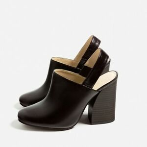 30a86bddb5d Image is loading ZARA-Cow-Leather-Slingback-High-Heel-Shoes-US-