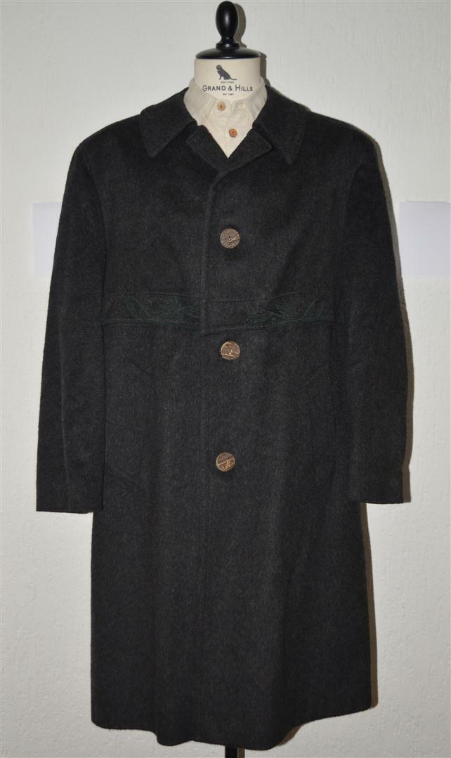 Austrian grau Hunting Loden Trachten Jagd Stag Wool Over Coat men 44S large