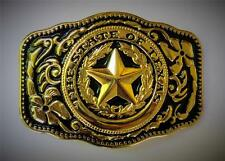 NEW WESTERN STAR STATE OF TEXAS GOLD RODEO FLAG COWBOY BELT BUCKLE