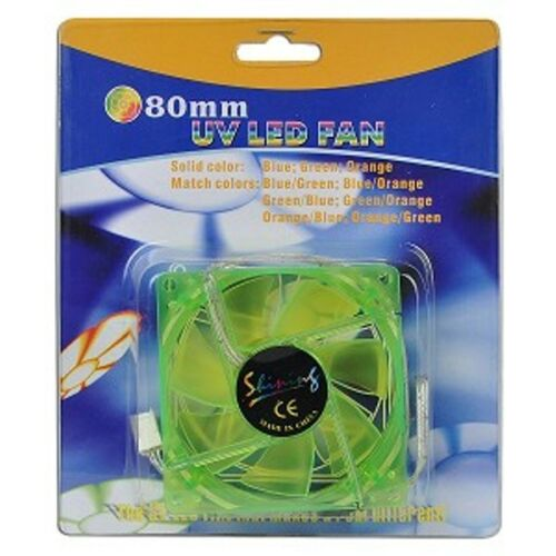 "UV Reactive Sleeve Bearing Case Fan w//3 Blue LEDs /& 3-Pin Connect 3/"" x 3/"" 80mm"