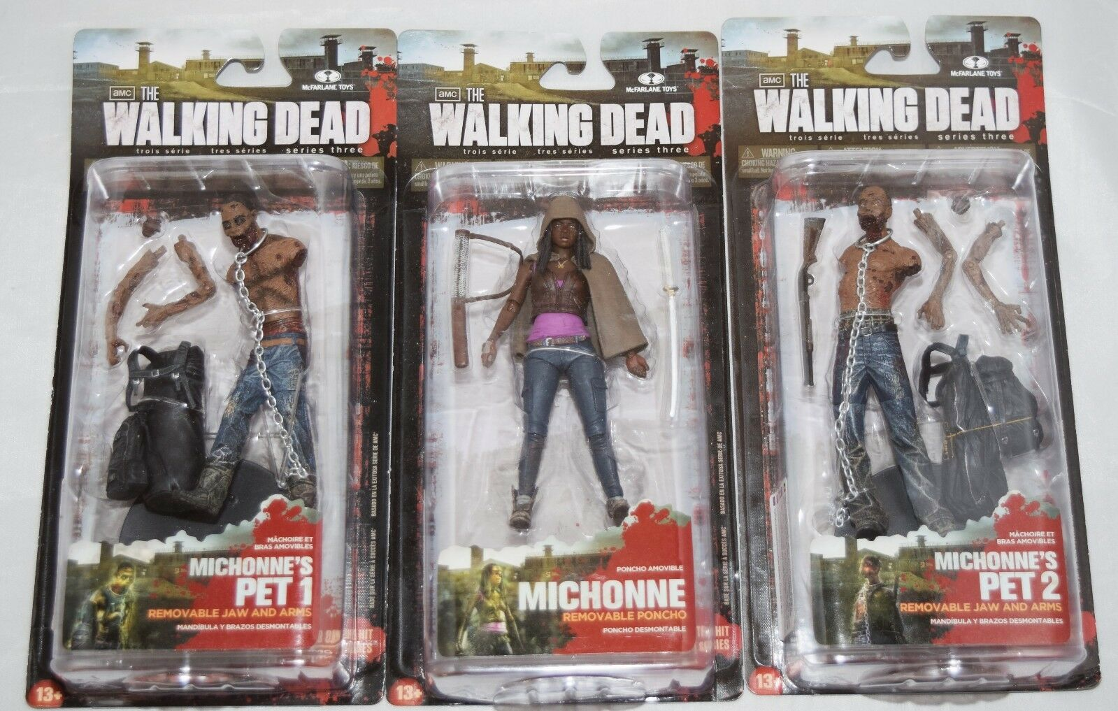 McFARLANE THE WALKING DEAD SERIES 3 MICHONNE AND PET 1 & 2 ACTION FIGURES