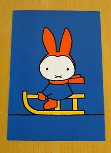 039-WITH-LOVE-FROM-MIFFY-039-POSTCARD-MIFFY-ON-HER-YELLOW-SLEIGH-DICK-BRUNA-1963