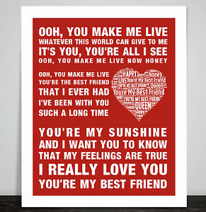Queen Music Song Lyrics Youre My Best Friend Word Art Poster Love