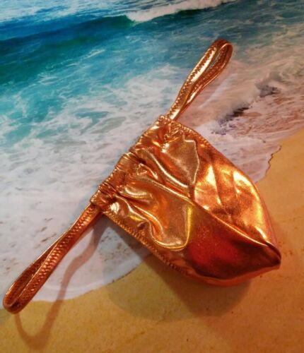 Metallic copper shiny custom swimwear g string swimsuit mens s m I or xl handmad