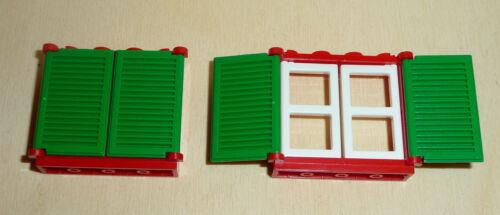 Nr.5330 Lego 3853+3854+3856 City 2 Fenster mit Fensterläden rot weiß grün