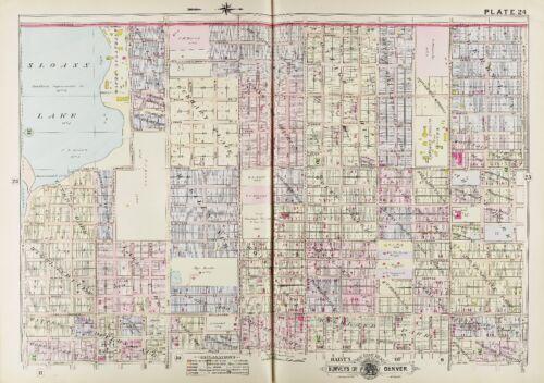 MANHATTAN BEACH COPY ATLAS MAP DENVER COLORADO G.W 1905 SLOAN/'S LAKE BAIST
