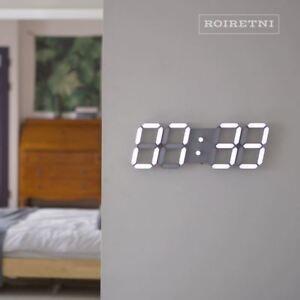 ROIRETNI Cool Gray Smart LED Digital Wall Clock - Alarm Thermometer Calendar