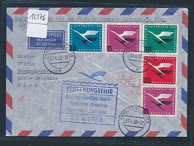 12176) Lh Ff Hamburg - Shannon Irland 27.4.56, Brief überkpl. Lh-satz