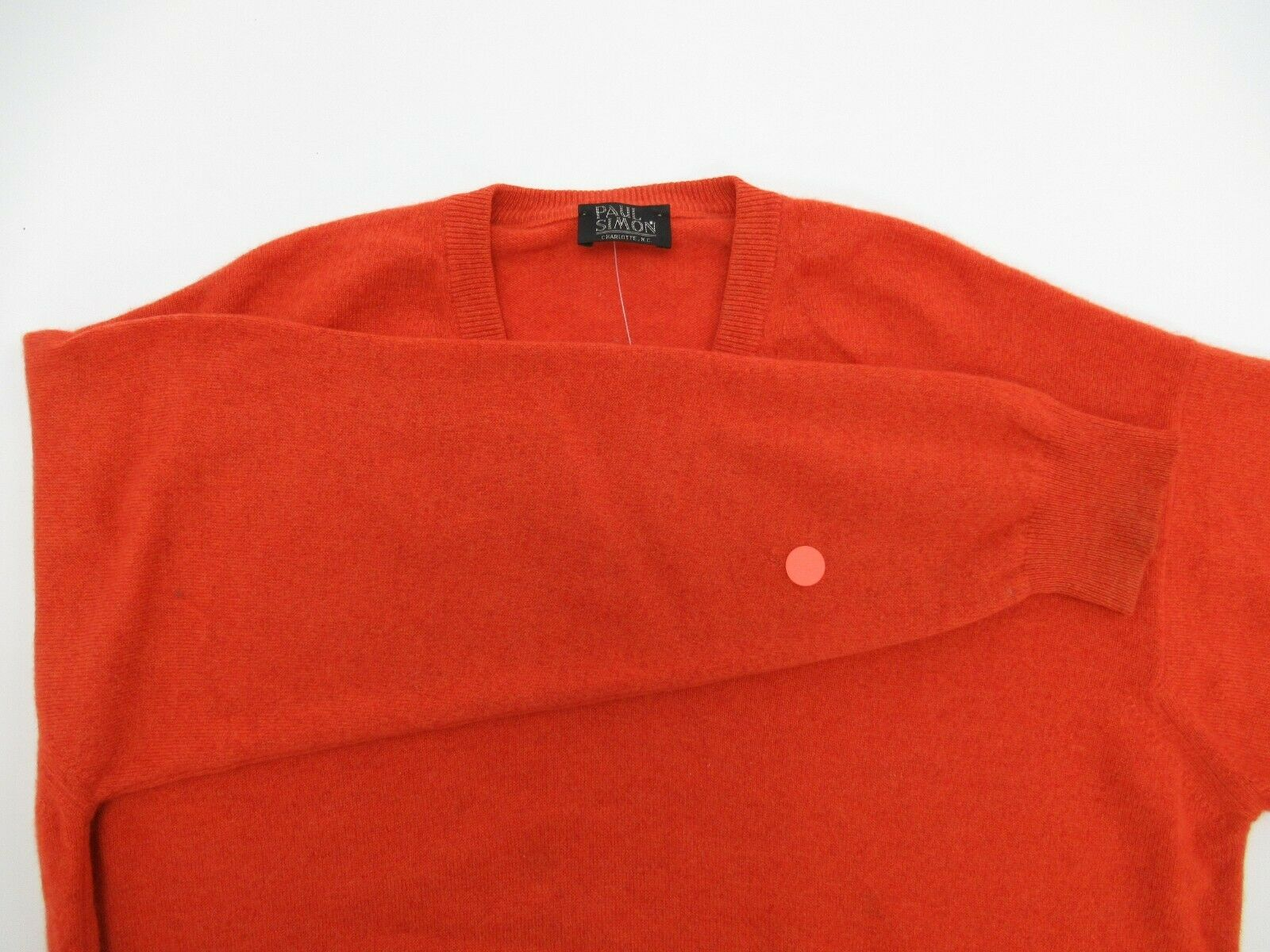 Paul Simon Men's 100% Cashmere Orange V-Neck Swea… - image 10