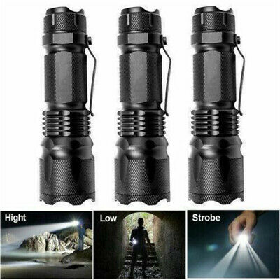 7W 1200LM Zoomable Q5 LED 1Mode 14500//AA Tactical Military Emergent Flashlight H
