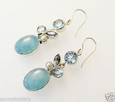 925 Silber echt Aquamarin Topas Ohrringe/ Ohrhänger mit weißen Zuchtperlen