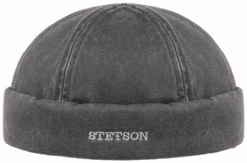 Stetson Docker Lederoptik  Dockermütze Sailorcap UV-Schutz 40 Used Look schwarz