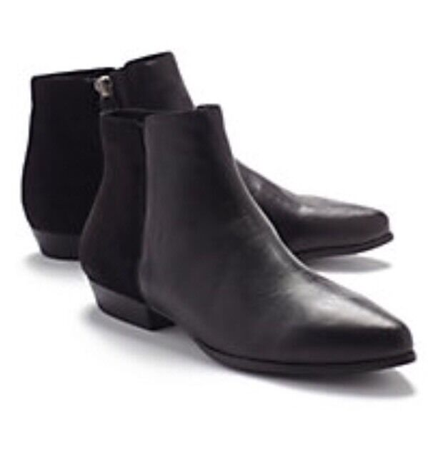 10 Eileen Fisher Chum Bootie Boot Heel BLACK LEATHER & SUEDE New With Box
