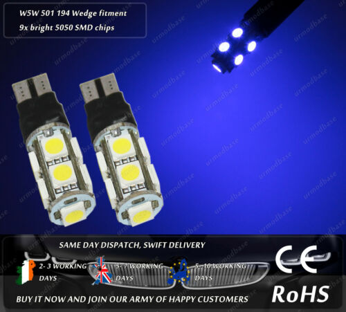 LED SMD T10 W5W 501 Wedge Xenon Blue Strobe Flashing Sidelights Parking Bulbs