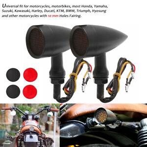 Paar-Motorrad-LED-Blinker-Bullet-schwarz-fuer-Cruiser-Custom-Chopper-vorn-hinten