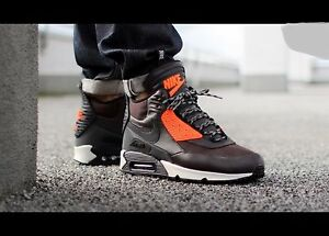 Details about Nike Air Max 90 Sneakerboot WNTR Shoe Sz 9 684714 200 BlackBrownHYPER CRIMSON
