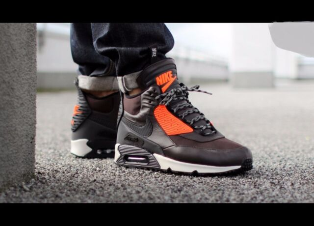 NIKE AIR MAX 90 SNEAKERBOOT WINTER WATERPROOF GREY ORANGE