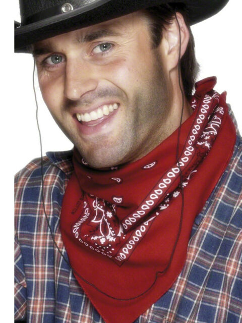 Unisexe Bandana rouge foulard Wild West Cowboy Cowgirl accessoire robe fantaisie