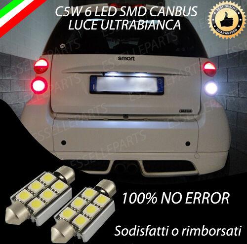 COPPIA LUCI TARGA LED SMART FORTWO MK2 CANBUS NUOVO MODELLO 6 LED 100/% NO ERRORE