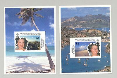 Caribbean Antigua & Barbuda (1981-now) United Antigua #1517-1518 Queen Elizabeth Ii 40th Anniversary Accession 2v S/s Proofs Reputation First