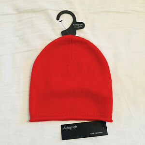 BNWT-M-amp-S-Ladies-Red-Pure-Cashmere-Beanie-Winter-Hat-One-Size-RRP-39-50