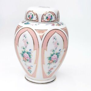 Lefton China Ginger Jar Vase with Lid Hand Painted Peach White Floral Japan
