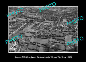 OLD-POSTCARD-SIZE-PHOTO-BURGESS-HILL-SUSSEX-ENGLAND-DISTRICT-AERIAL-VIEW-c1950