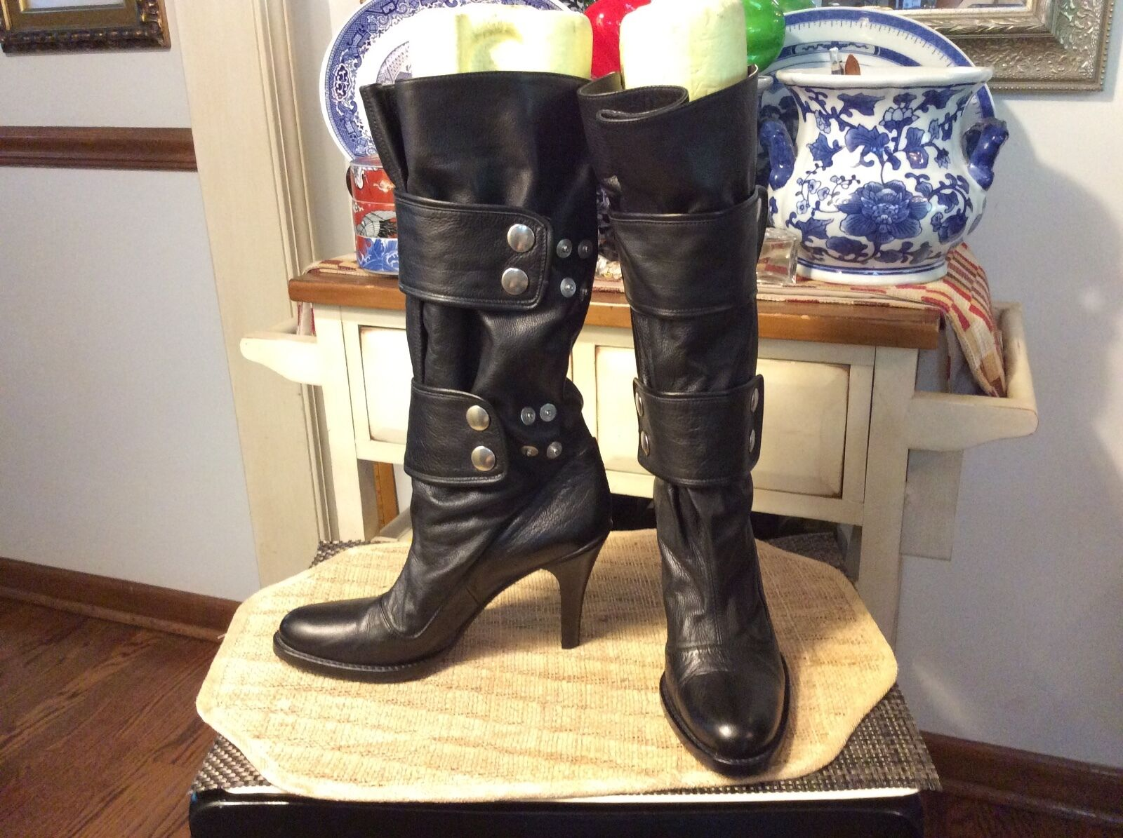 HABILLE / ITALY / MIDCALF RIDING BOOT BOOT BOOT BLACK / SZ: EU 39 / US 7.5 b550ed